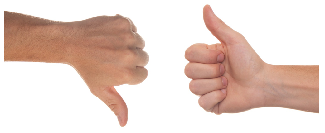 thumbs up vs thumbs down